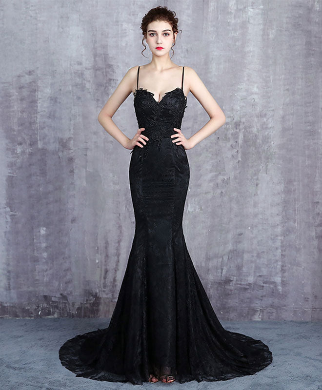 Black lace long prom dress, mermaid evening dress