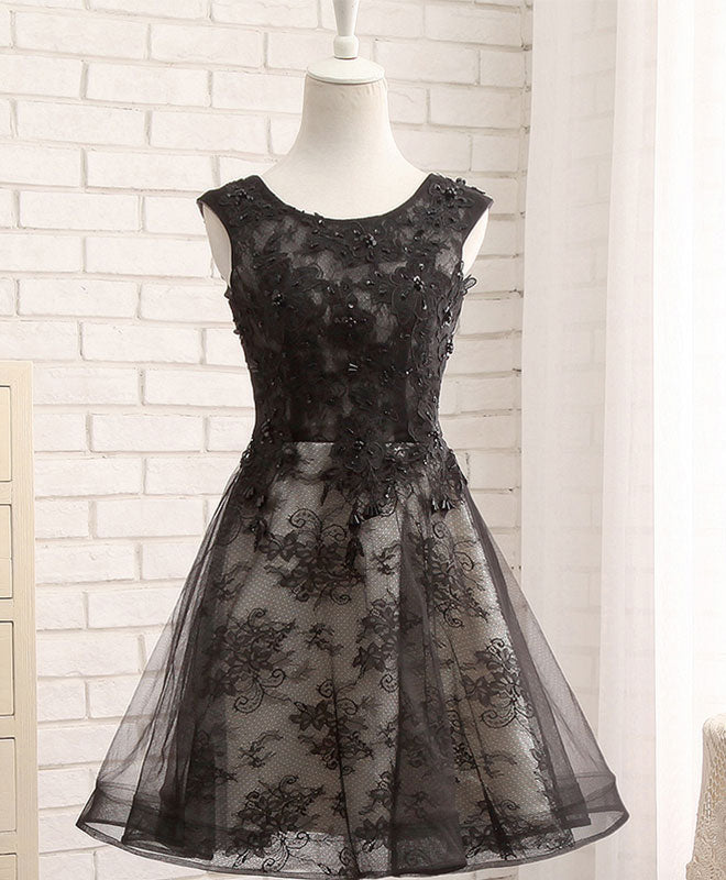 Black lace short prom dress, black evening dres