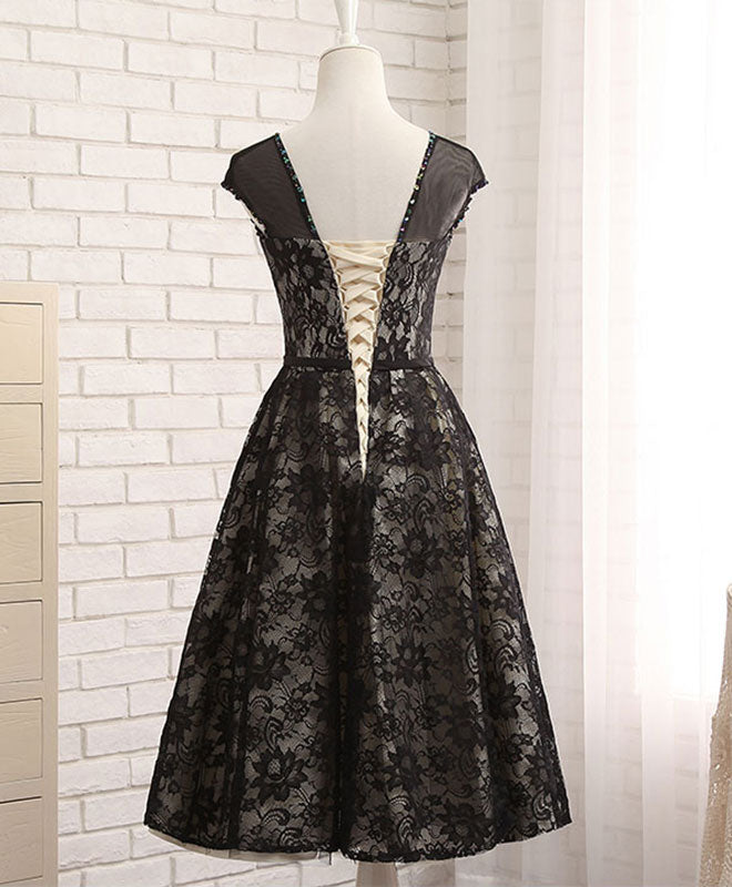 Black lace tea length prom dress, black evening dress