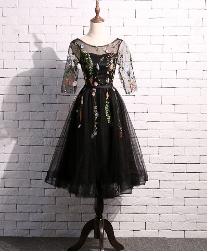 Black tulle short prom dress, homecoming dress