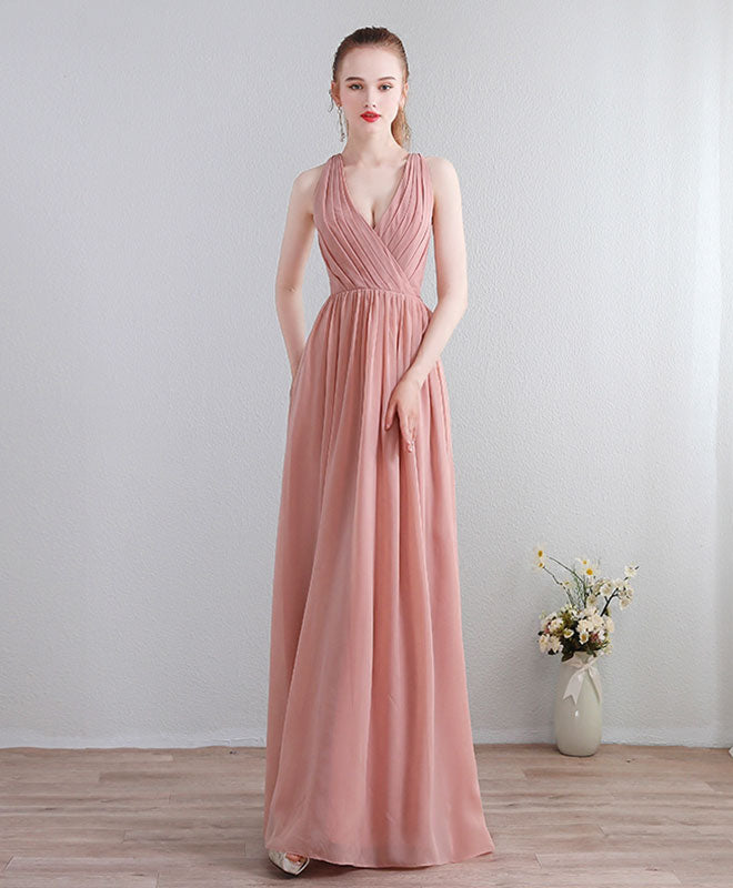 Dusty pink chiffon lace long prom dress, evening dress