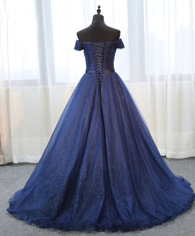 Dark blue shining tulle long prom dress, evening dress