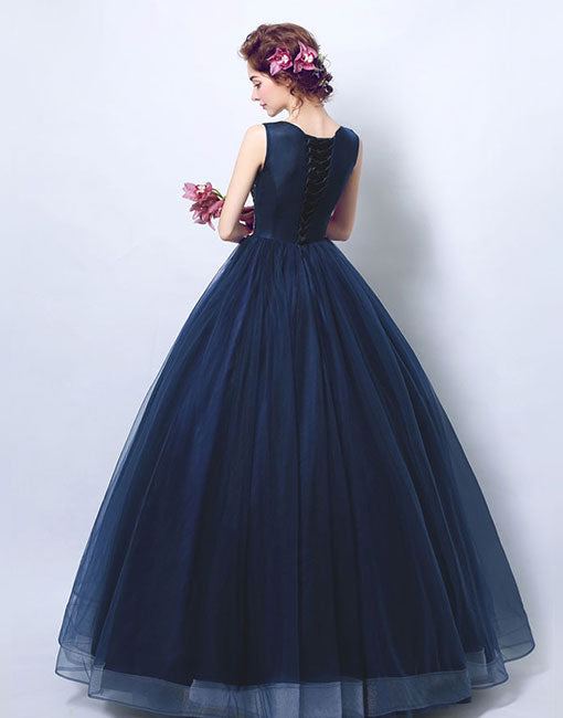 Blue round neck lace long prom gown, formal dress