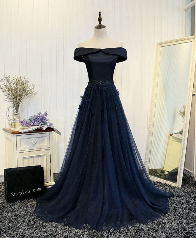 7146ec61bb0 Dark blue off shoulder long prom dress