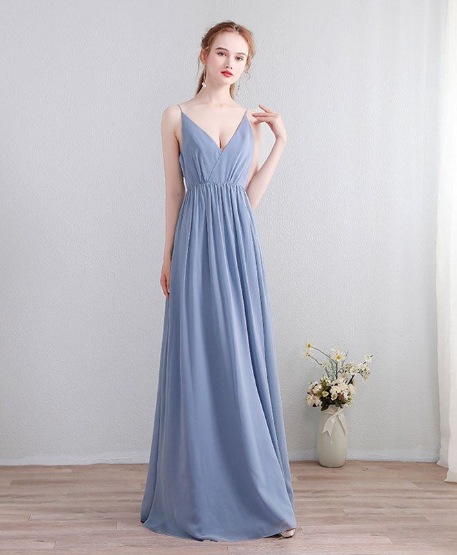 Blue v neck chiffon lace long prom dress, evening dress
