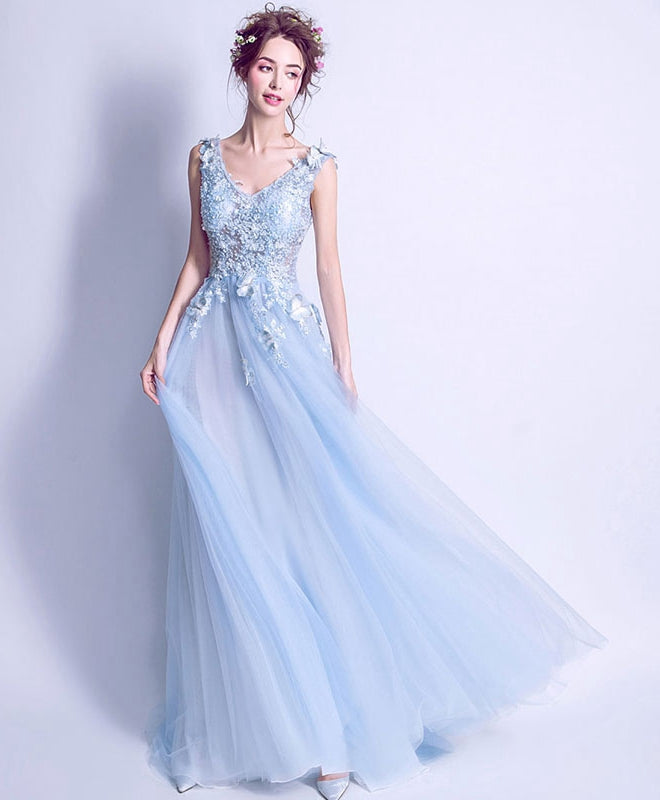 Blue v neck lace tulle long prom dress, lace evening dress