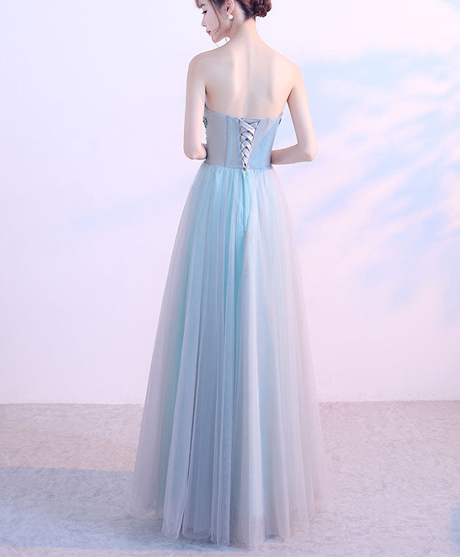 Blue tulle sweetheart neck long prom dress, blue evening dress