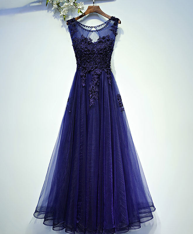 Blue round neck lace tulle long prom dress, evening dress