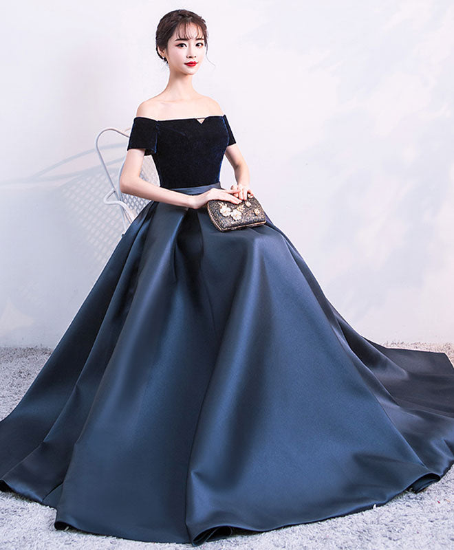Simple satin long prom dress, formal dress