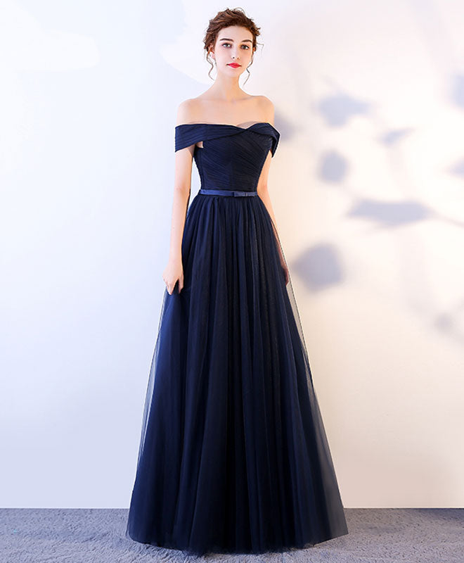 Dark blue long prom dress, blue tulle evening dress – shopluu