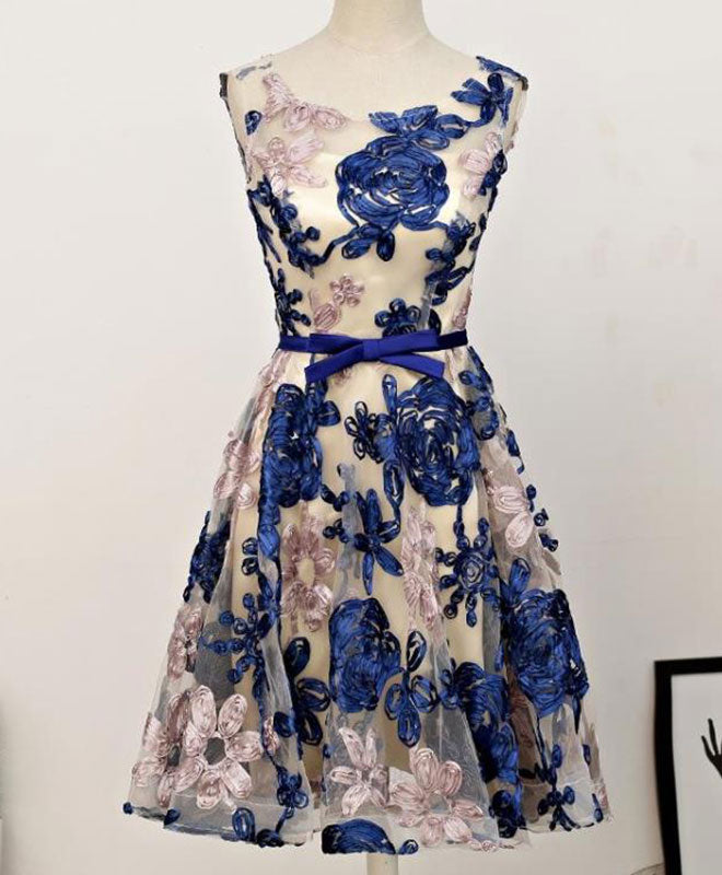Cute A line 3D flowers short prom dress