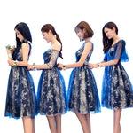 Blue lace tulle short prom dress, bridesmaid dress
