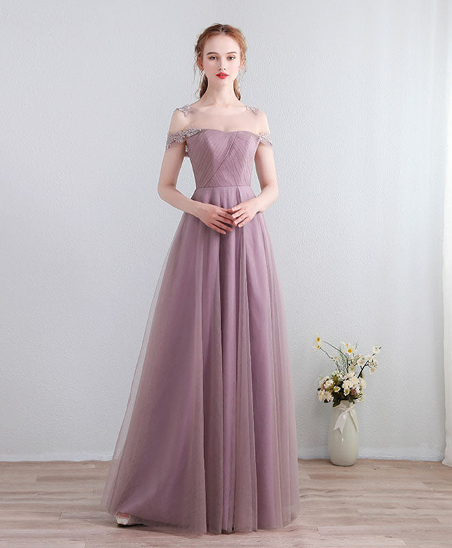 Cute lace tulle long prom dress, lace evening dress