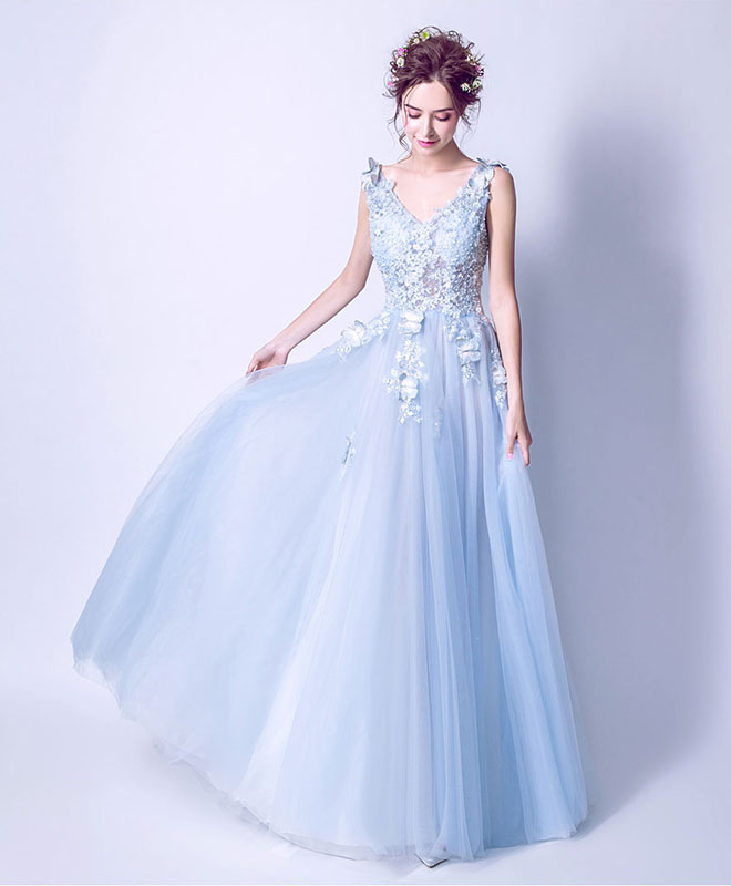23d24af396 Blue v neck lace tulle long prom dress