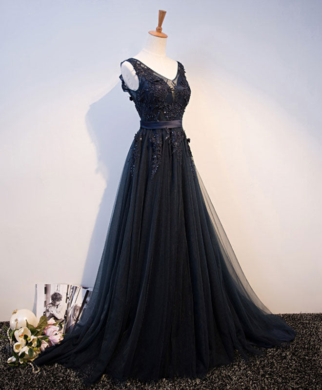 Dark blue v neck tulle lace long prom dress, evening dress