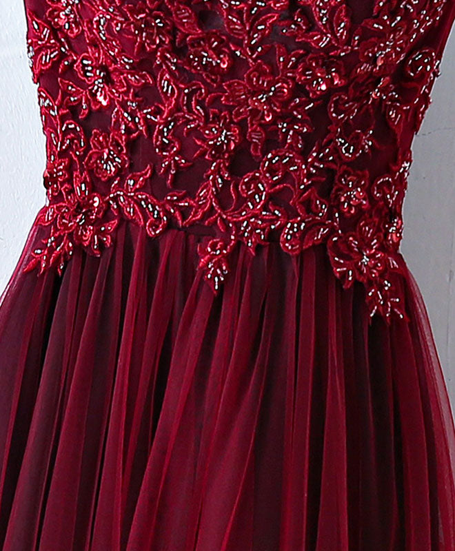 Burgundy one shoulder long prom dress, lace evening dress