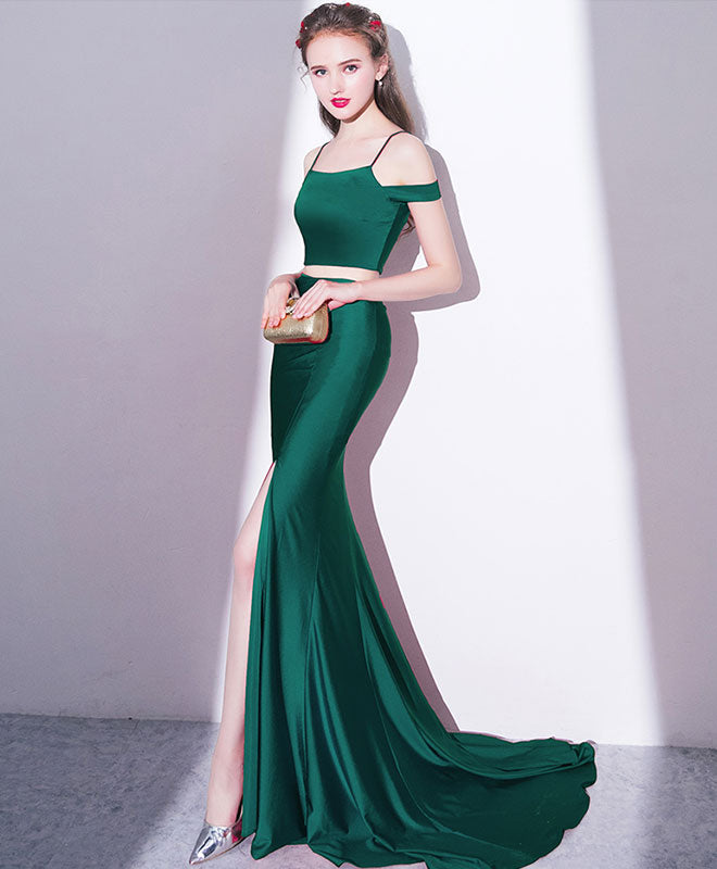 Mermaid two pieces long prom dress, mermaid evening dress