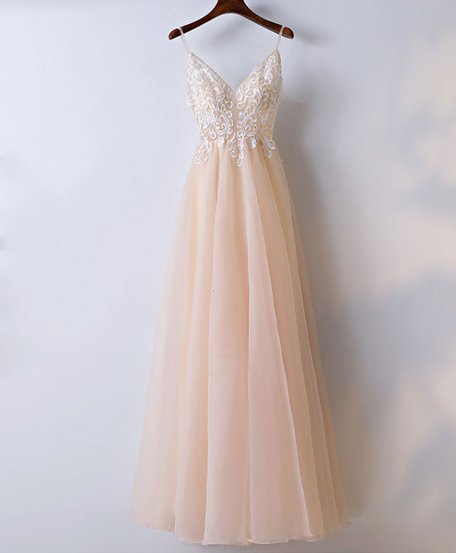 Champagne v neck tulle long prom dress, lace evening dress