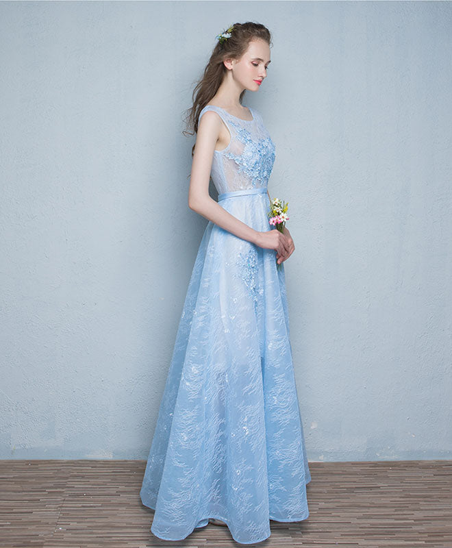 Light blue see through tulle long prom dress, lace evening dress