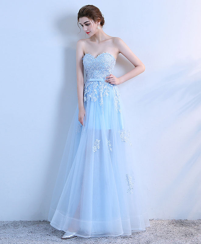Light blue sweetheart neck long prom dress, lace formal dress – shopluu