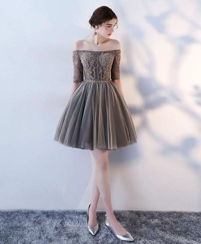 A line 1/2 sleeve lace short prom dress, homecoming dress
