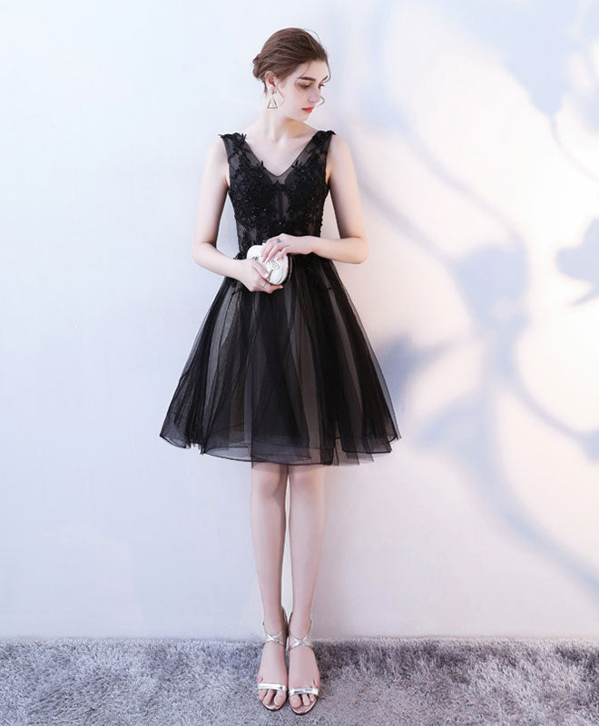 Black v neck tulle lace short prom dress, homecoming dress