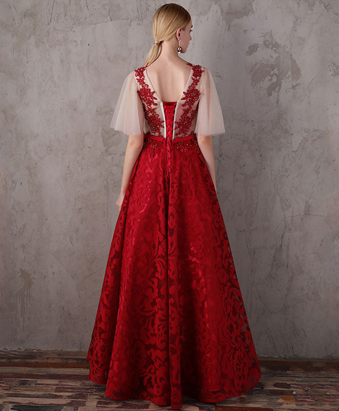 Burgundy lace long prom ddress, burgundy evening dress