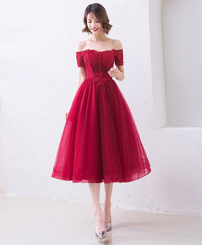Cute burgundy off shoulder short prom dress, evening dress