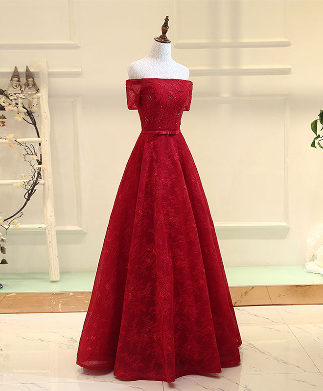 BurgundyA line  lace long prom dress, burgundy evening dress