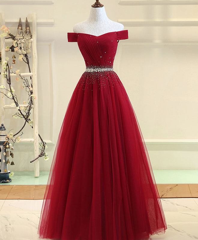 26fad89a682 Burgundy tulle off shoulder long prom dress