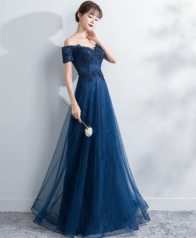 Blue lace off shoulder long prom dress, blue evening dress