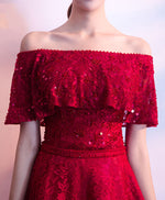 Burgundy lace sequins long prom dress, evening dress