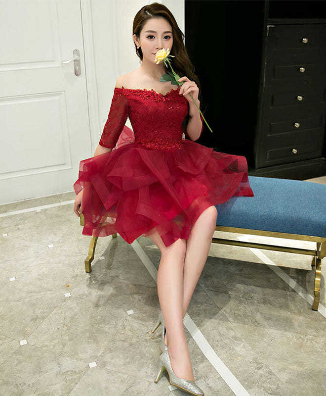 Burgundy lace tulle short pro dress, homecoming dresses