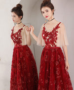 Burgundy lace long prom dress, evening dress