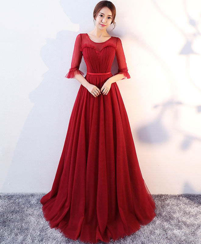 Burgundy round neck tulle long prom dress, evening dress