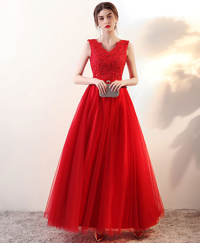 Burgundy v neck tulle long prom dress, lace evening dress
