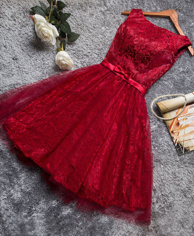 Burgundy A line lace short prom dress, burgundy evening dress