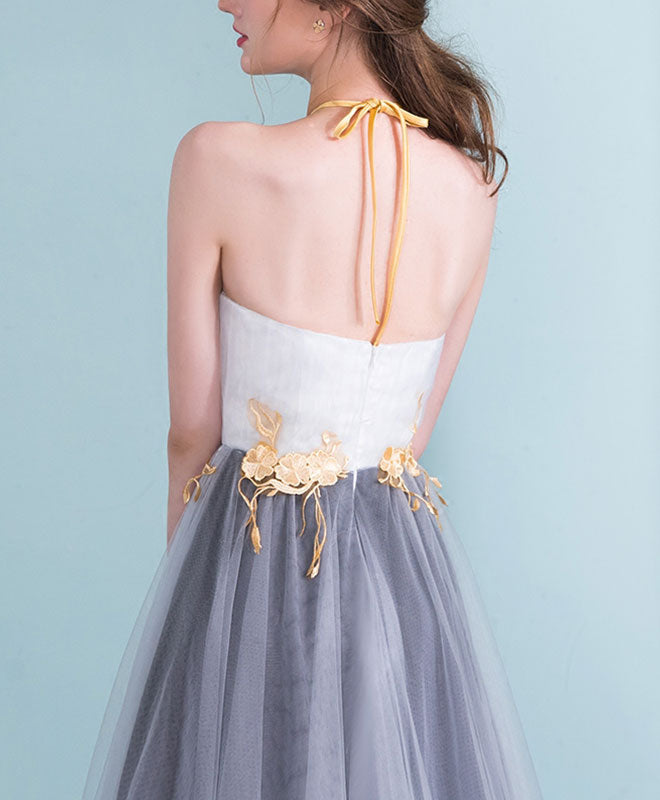 Gray gradient tulle long prom dress, gray evening dress