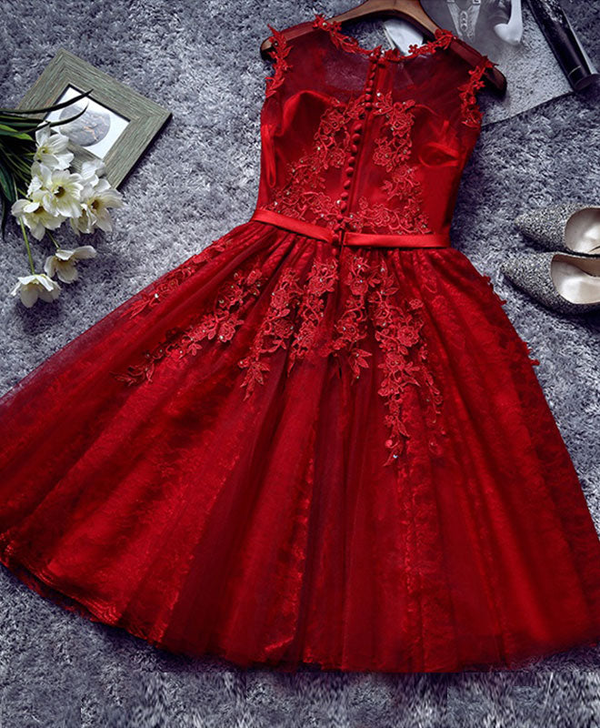 Burgundy lace tulle short prom dress, lace evening dress