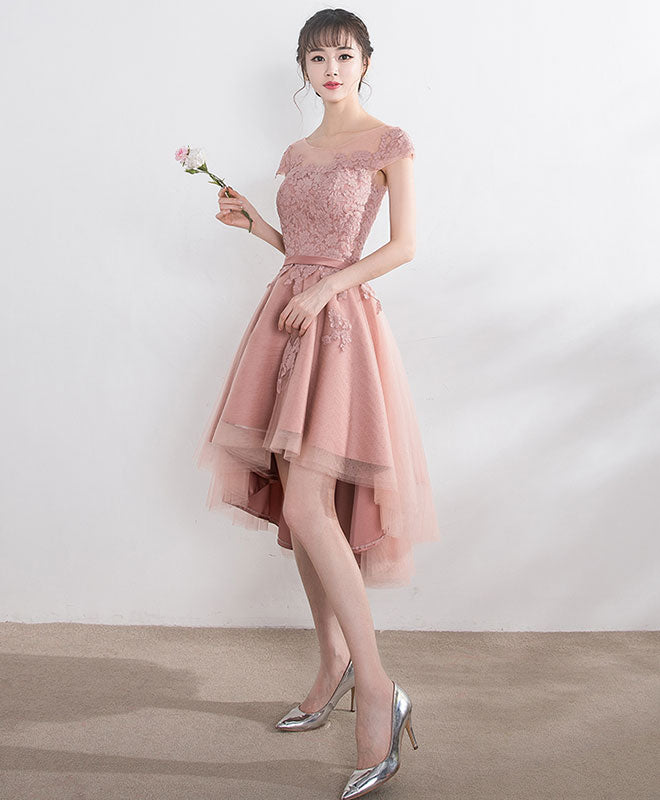Cut lace tulle short prom dress, high low evening dress
