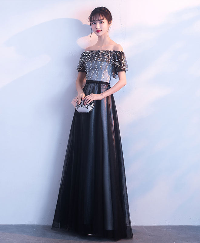 Black long prom dress, black evening dress
