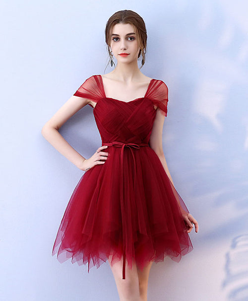 Cute burgundy tulle short prom dress, homecoming dress