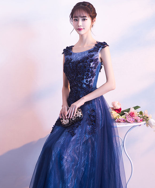 Dark blue lace long prom dress, lace evening dress