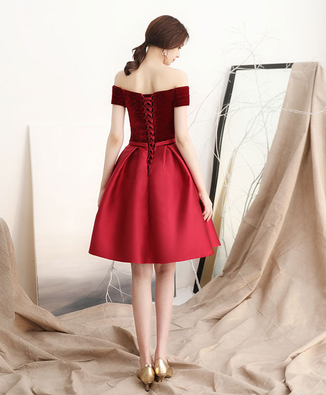 Burgundy satin short prom dress, homecoming dress