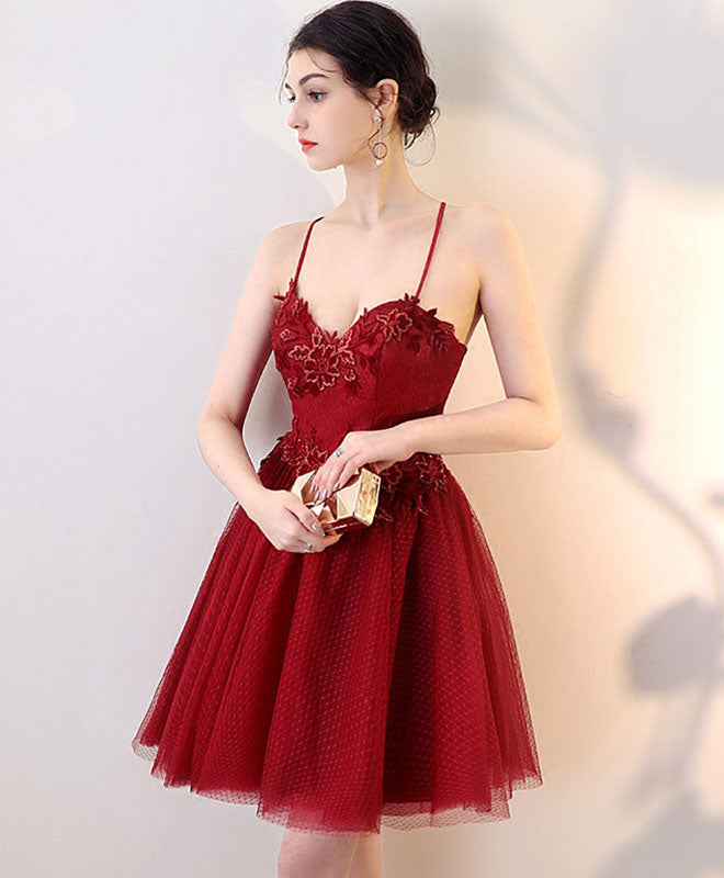 Burgundy lace tulle short prom dress, homecoming dress