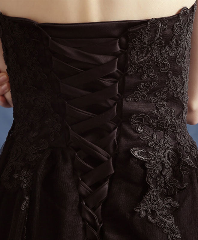 Black sweetheart neck lace long prom dress, black eveing dress