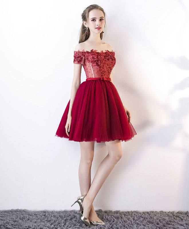 Cute tulle lace off shoulder short prom dress, homecoming dress
