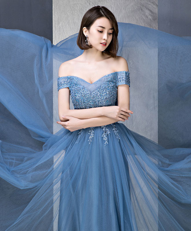 Blue tulle off shoulder long prom dress, evening dress