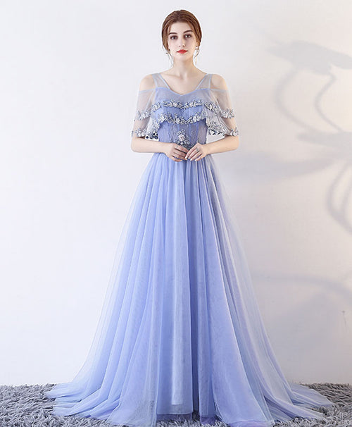Cute lace tulle long prom dress, A line evening dress