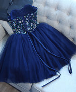 Blue tulle sequins short A line prom dress, cheap evening dress